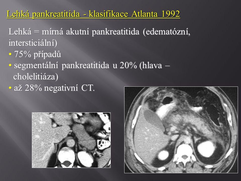 Lehká pankreatitida - klasifikace Atlanta 1992