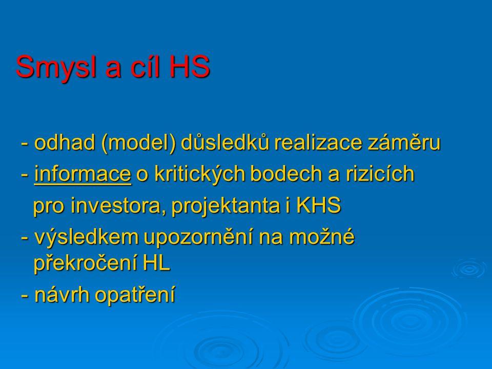 Smysl a cíl HS - odhad (model) důsledků realizace záměru
