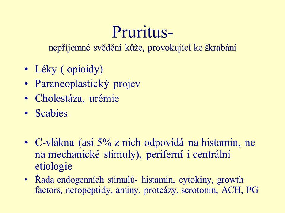 Pruritus- nepříjemné svědění kůže, provokující ke škrabání