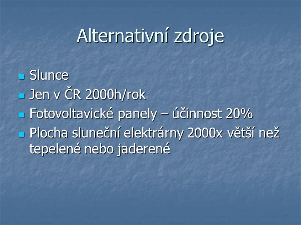 Alternativní zdroje Slunce Jen v ČR 2000h/rok