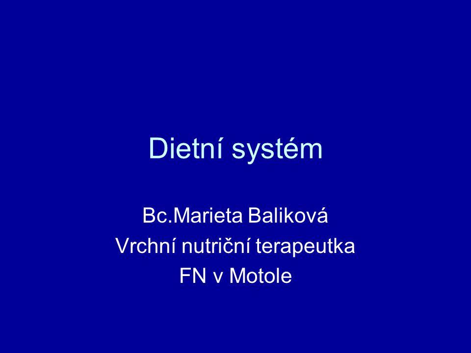 Bc.Marieta Baliková Vrchní nutriční terapeutka FN v Motole