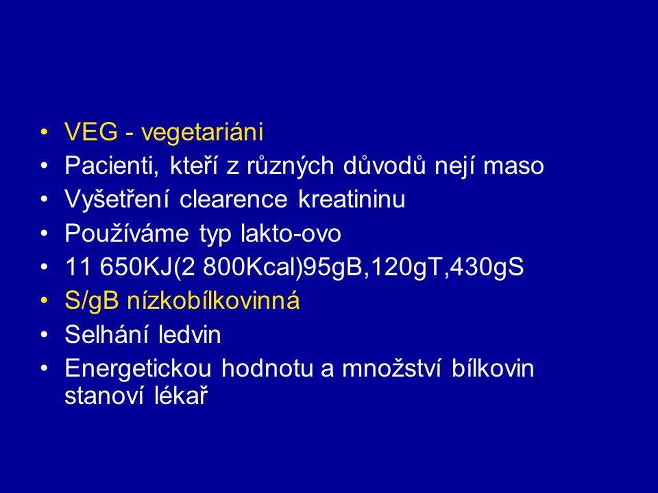 VEG - vegetariáni Pacienti, kteří z různých důvodů nejí maso. Vyšetření clearence kreatininu. Používáme typ lakto-ovo.