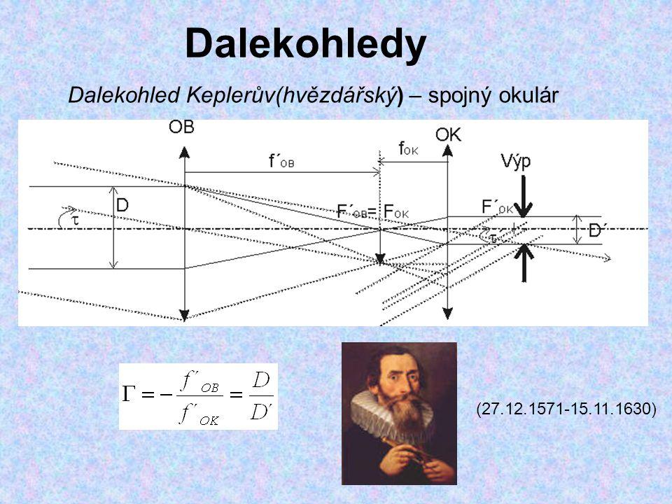 Dalekohledy Dalekohled Keplerův(hvězdářský) – spojný okulár