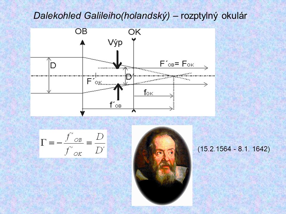 Dalekohled Galileiho(holandský) – rozptylný okulár