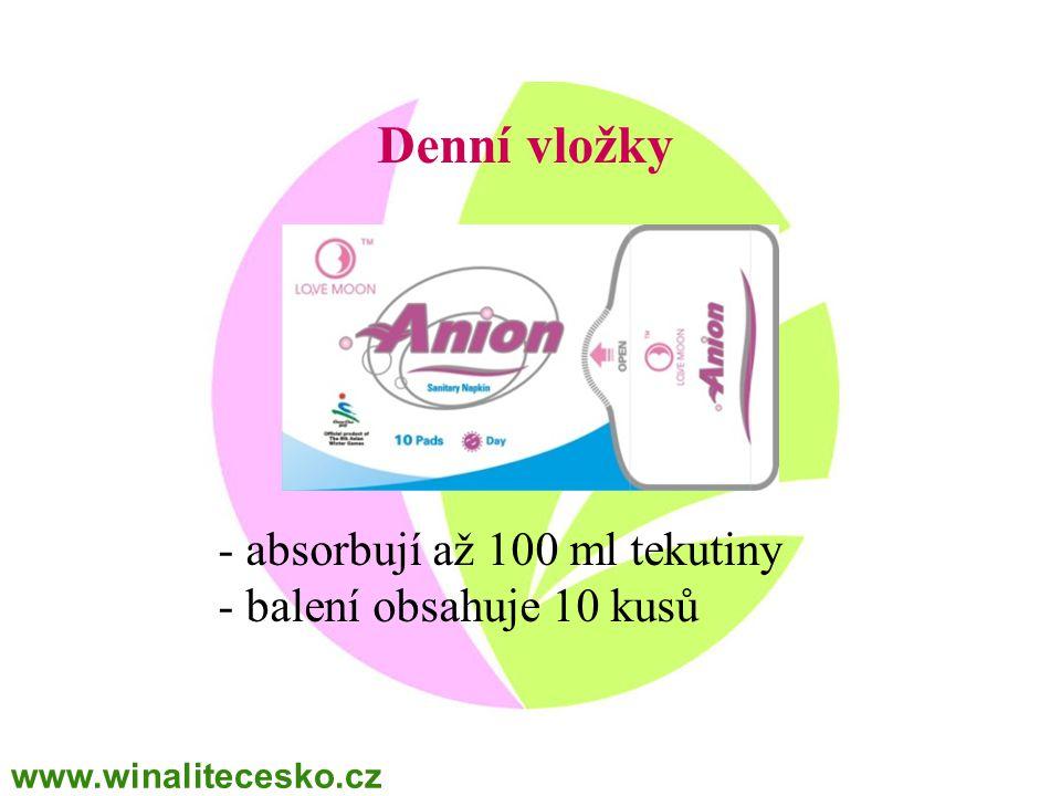 Denní vložky - absorbují až 100 ml tekutiny balení obsahuje 10 kusů