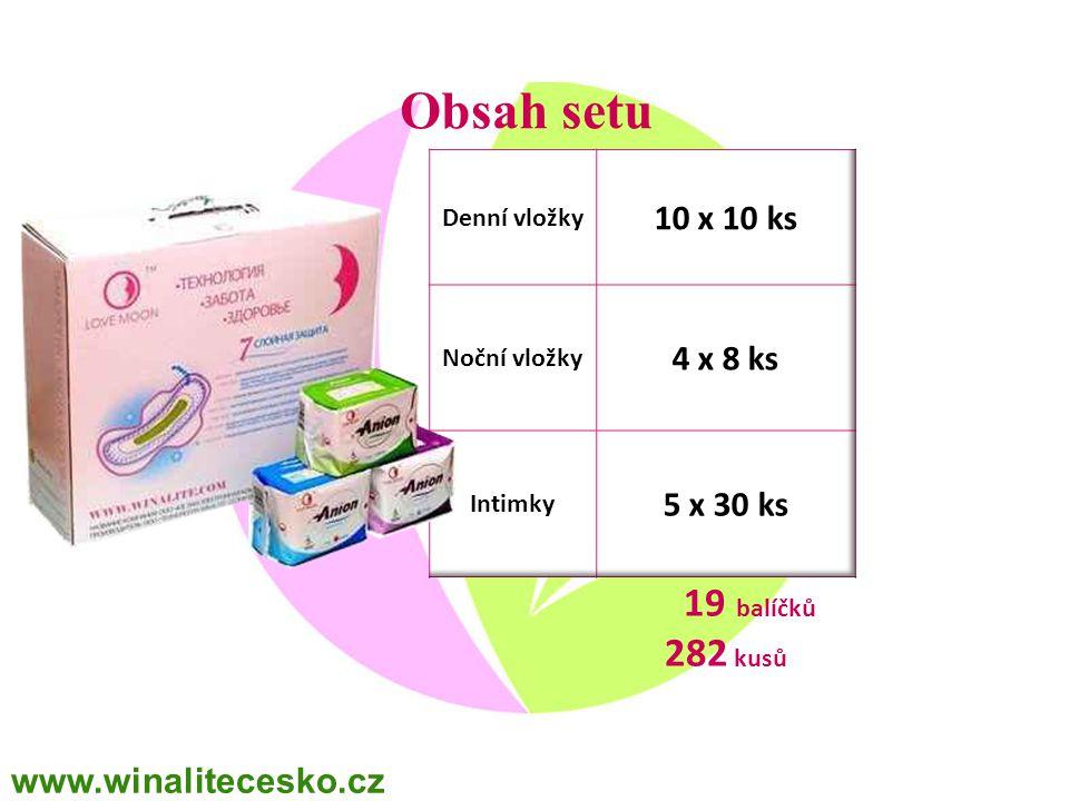 Obsah setu 19 balíčků 282 kusů 10 x 10 ks 4 x 8 ks 5 x 30 ks