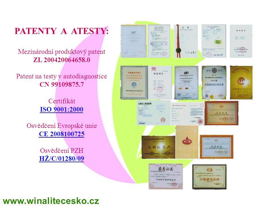 PATENTY A ATESTY: www.winalitecesko.cz