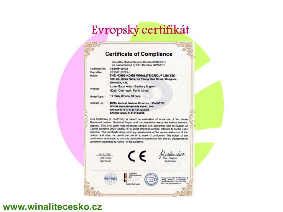 WINALITE Polska Evropský certifikát www.winalitecesko.cz