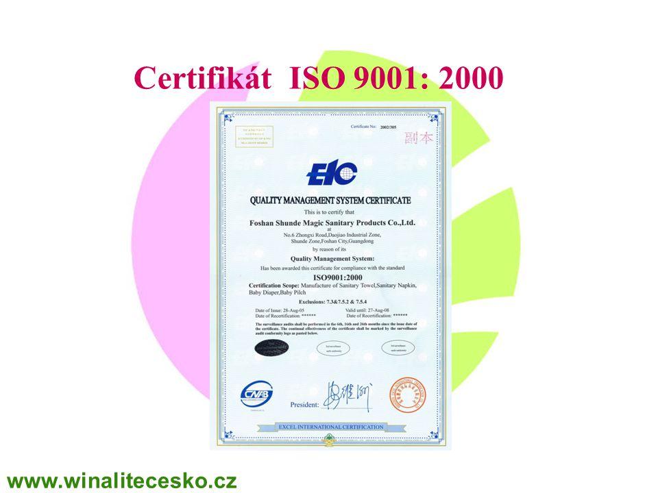 WINALITE Polska Certifikát ISO 9001: 2000 www.winalitecesko.cz