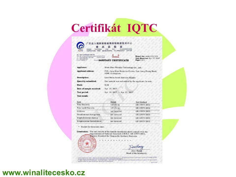 WINALITE Polska Certifikát IQTC www.winalitecesko.cz