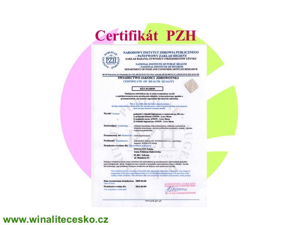 WINALITE Polska Certifikát PZH www.winalitecesko.cz