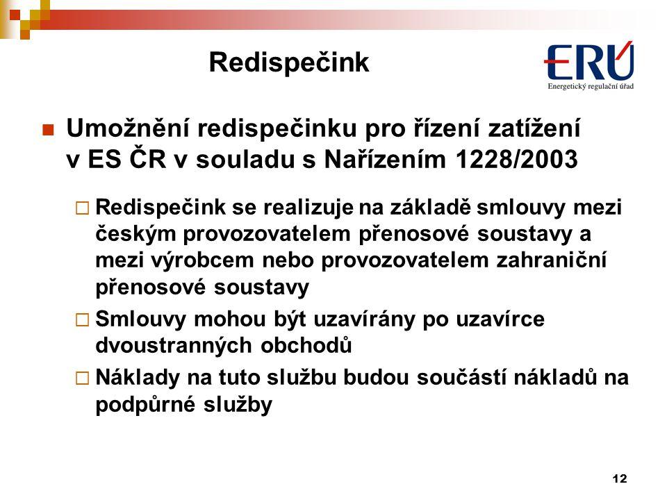 Redispečink Umožnění redispečinku pro řízení zatížení v ES ČR v souladu s Nařízením 1228/2003.