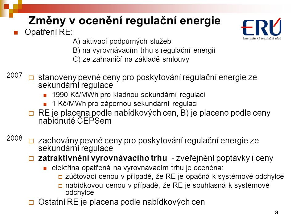 Změny v ocenění regulační energie