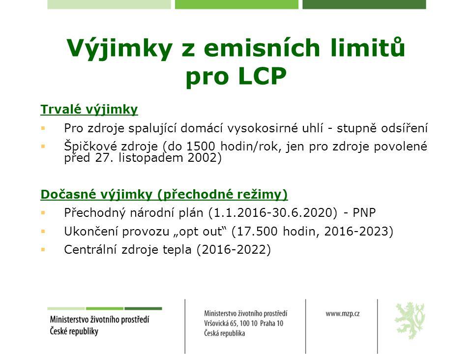 Výjimky z emisních limitů pro LCP
