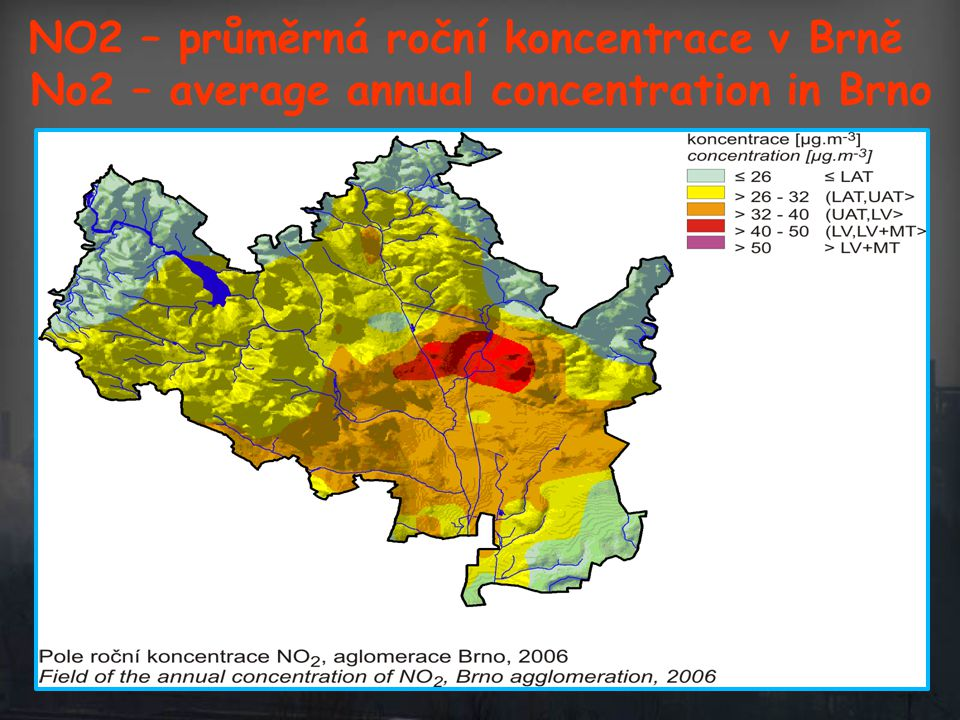 No2 – average annual concentration in Brno