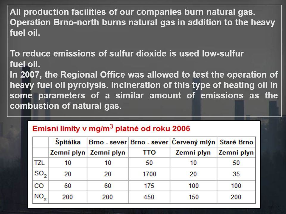 To reduce emissions of sulfur dioxide is used low-sulfur fuel oil.