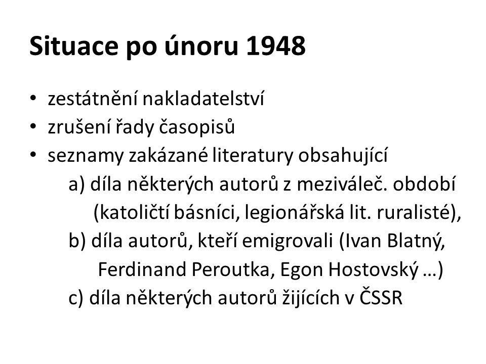 Situace po únoru 1948 zestátnění nakladatelství zrušení řady časopisů