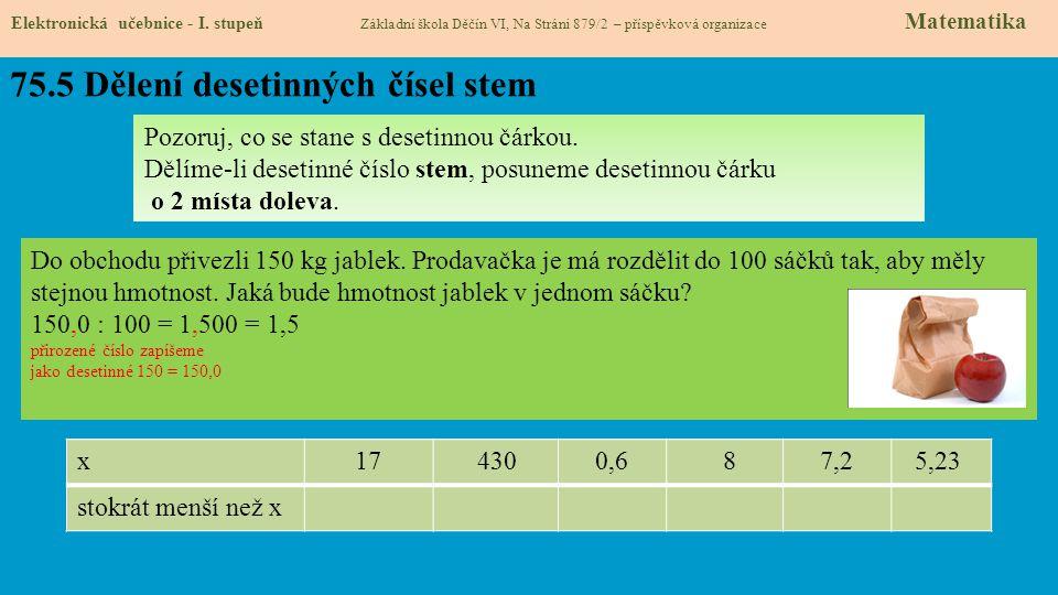 75.5 Dělení desetinných čísel stem