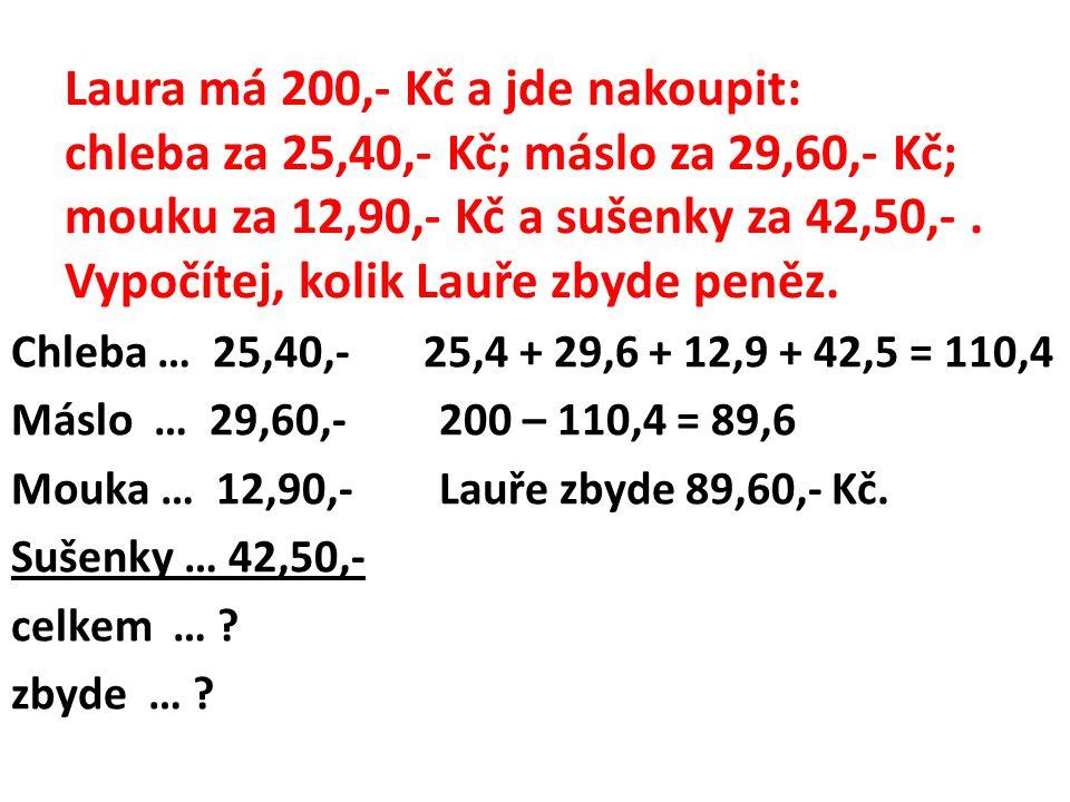 Laura má 200,- Kč a jde nakoupit: chleba za 25,40,- Kč; máslo za 29,60,- Kč; mouku za 12,90,- Kč a sušenky za 42,50,- . Vypočítej, kolik Lauře zbyde peněz.