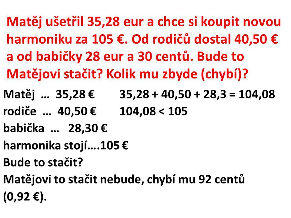 Matěj ušetřil 35,28 eur a chce si koupit novou harmoniku za 105 €