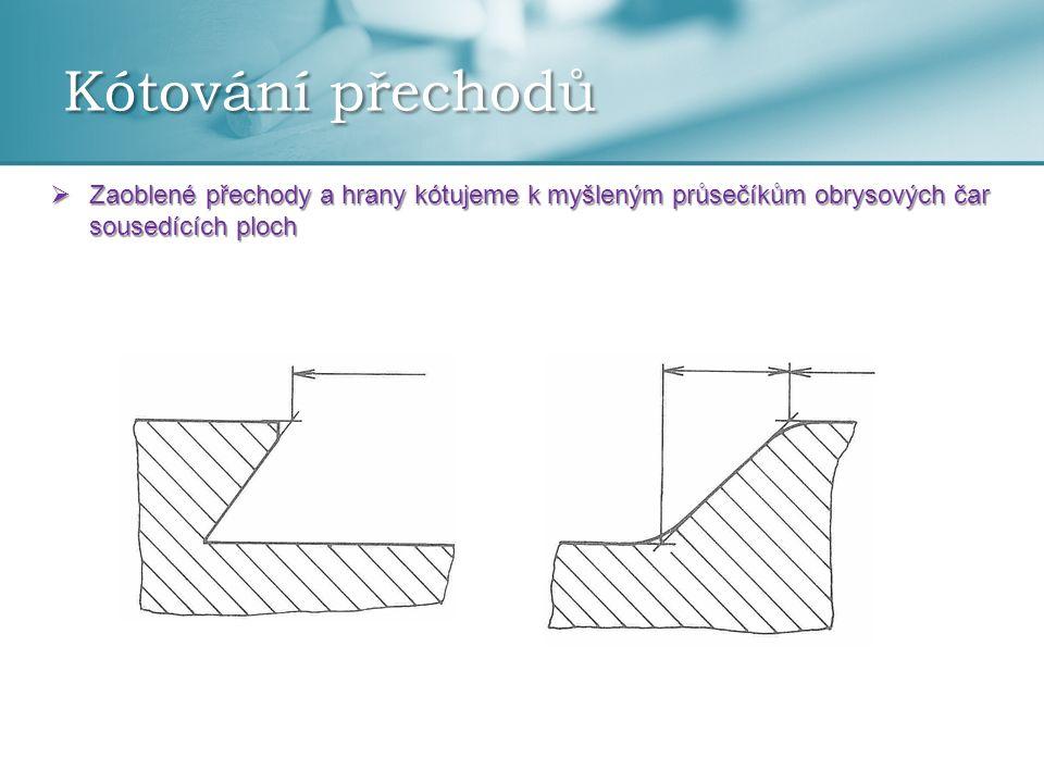 Kótování přechodů Zaoblené přechody a hrany kótujeme k myšleným průsečíkům obrysových čar sousedících ploch.
