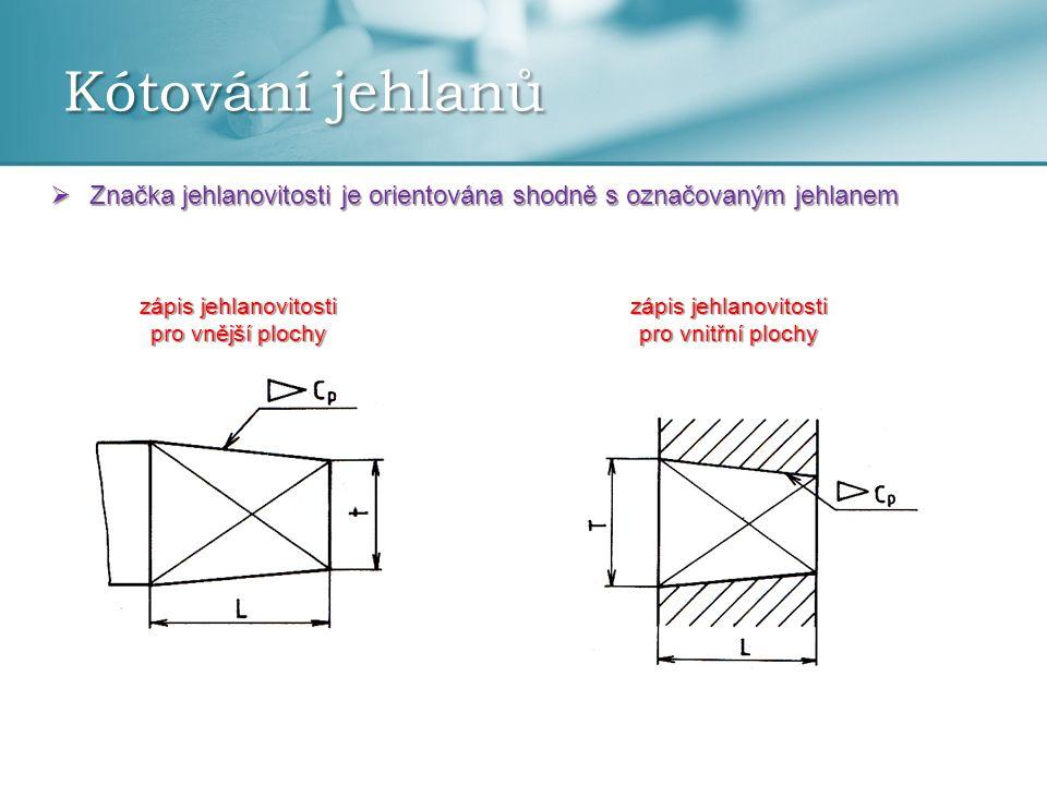 Kótování jehlanů Značka jehlanovitosti je orientována shodně s označovaným jehlanem. zápis jehlanovitosti pro vnější plochy.