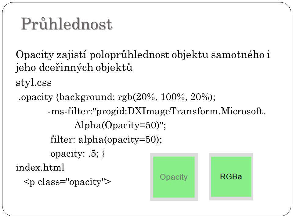 Průhlednost Opacity zajistí poloprůhlednost objektu samotného i jeho dceřinných objektů. styl.css.