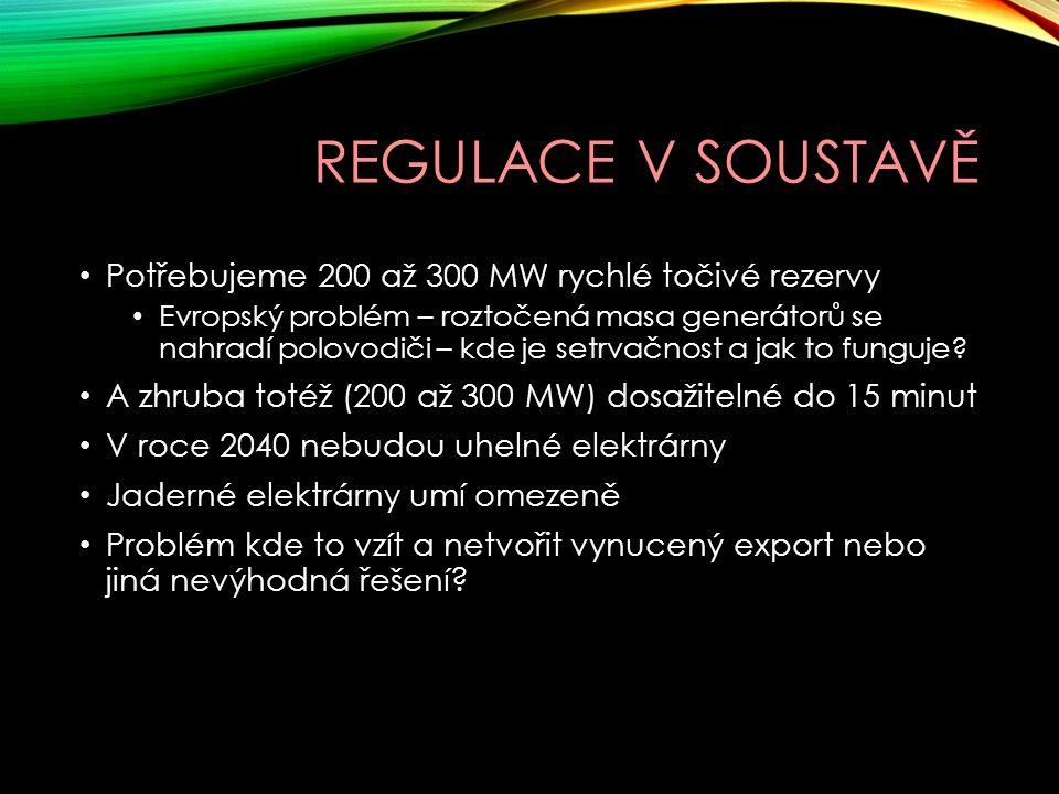 Regulace v soustavě Potřebujeme 200 až 300 MW rychlé točivé rezervy