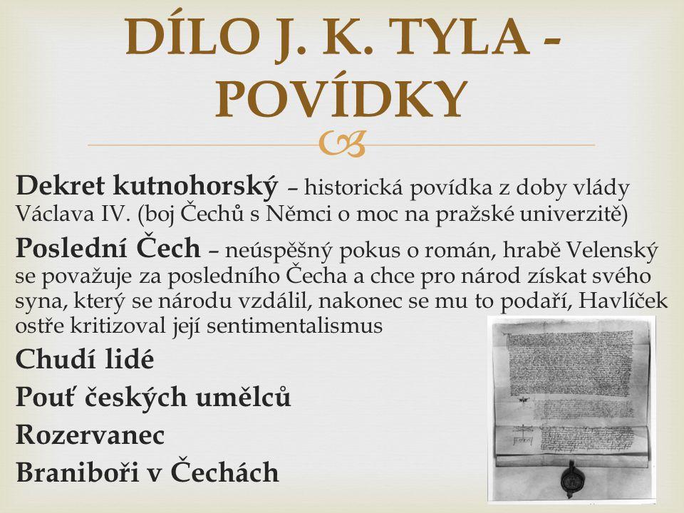 DÍLO J. K. TYLA - POVÍDKY