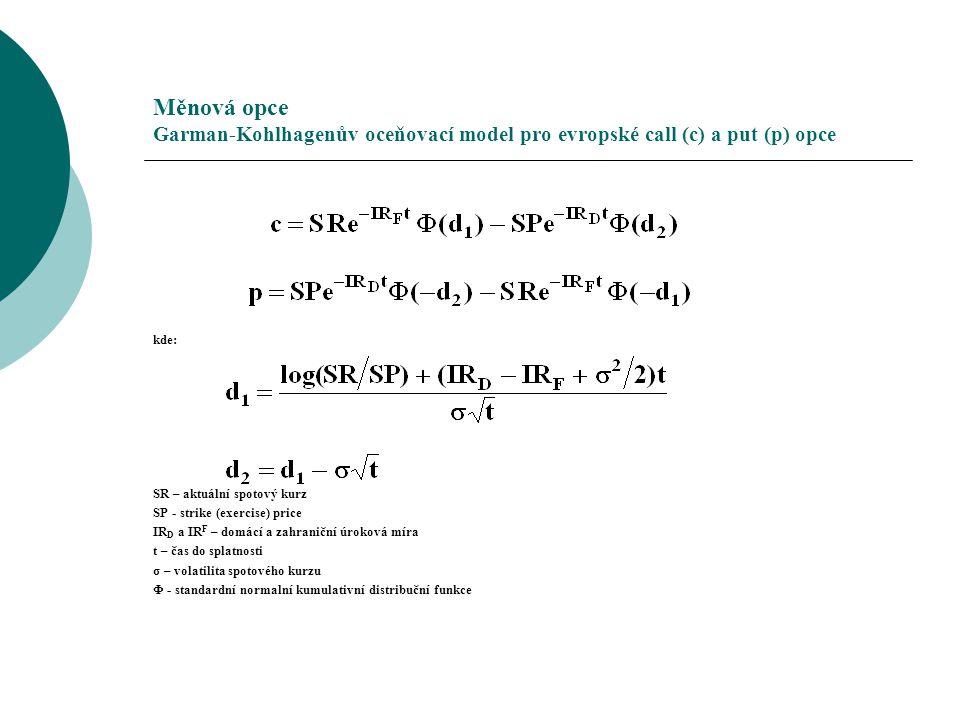Měnová opce Garman-Kohlhagenův oceňovací model pro evropské call (c) a put (p) opce