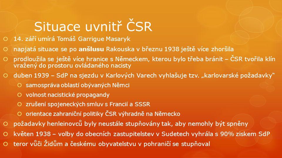 Situace uvnitř ČSR 14. září umírá Tomáš Garrigue Masaryk