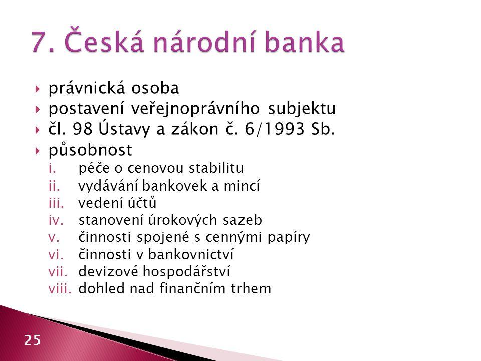 7. Česká národní banka právnická osoba