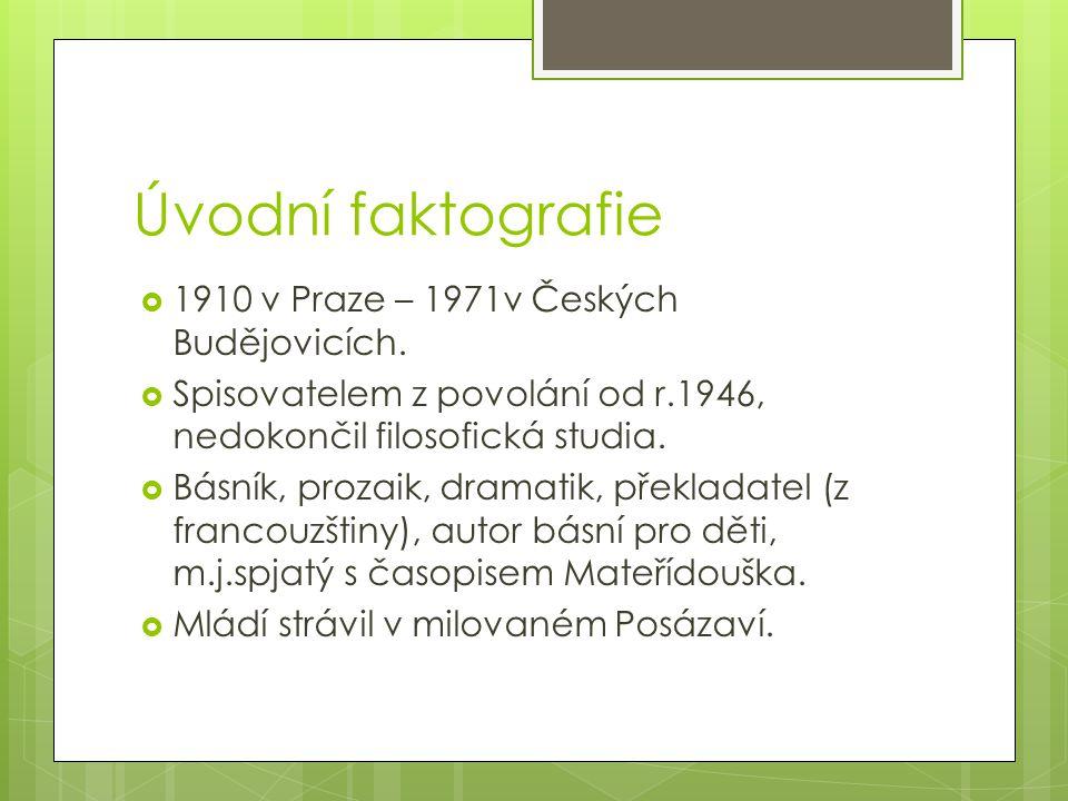 Úvodní faktografie 1910 v Praze – 1971v Českých Budějovicích.