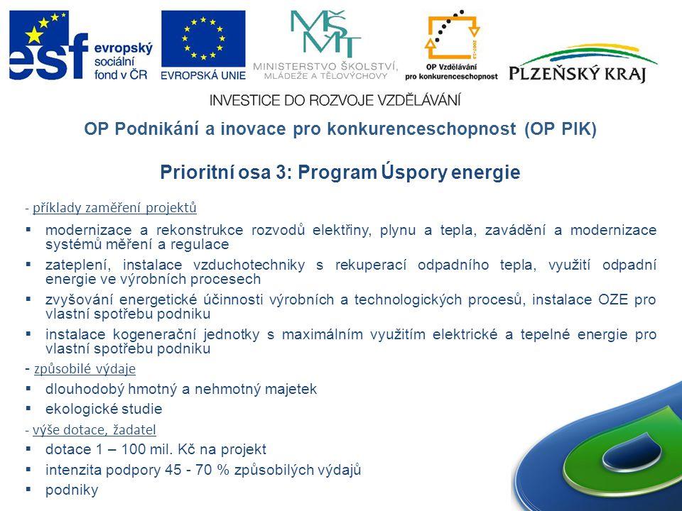 Prioritní osa 3: Program Úspory energie