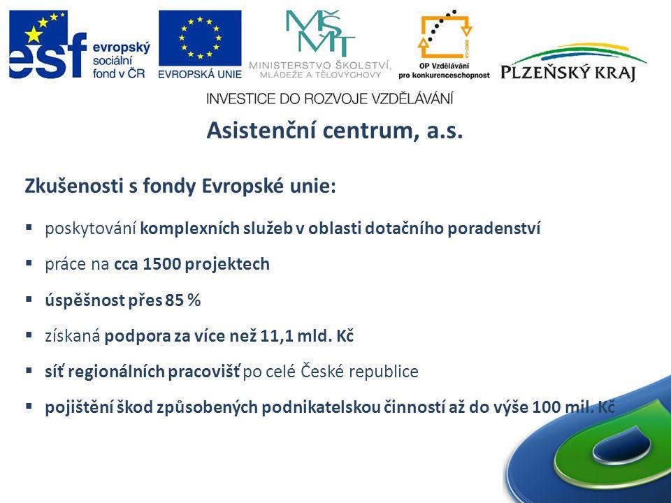 Asistenční centrum, a.s. Zkušenosti s fondy Evropské unie: