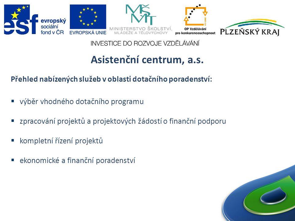 Asistenční centrum, a.s. Přehled nabízených služeb v oblasti dotačního poradenství: výběr vhodného dotačního programu.