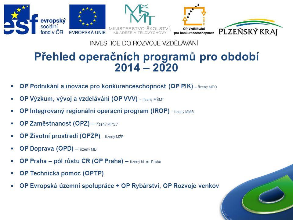 Přehled operačních programů pro období 2014 – 2020