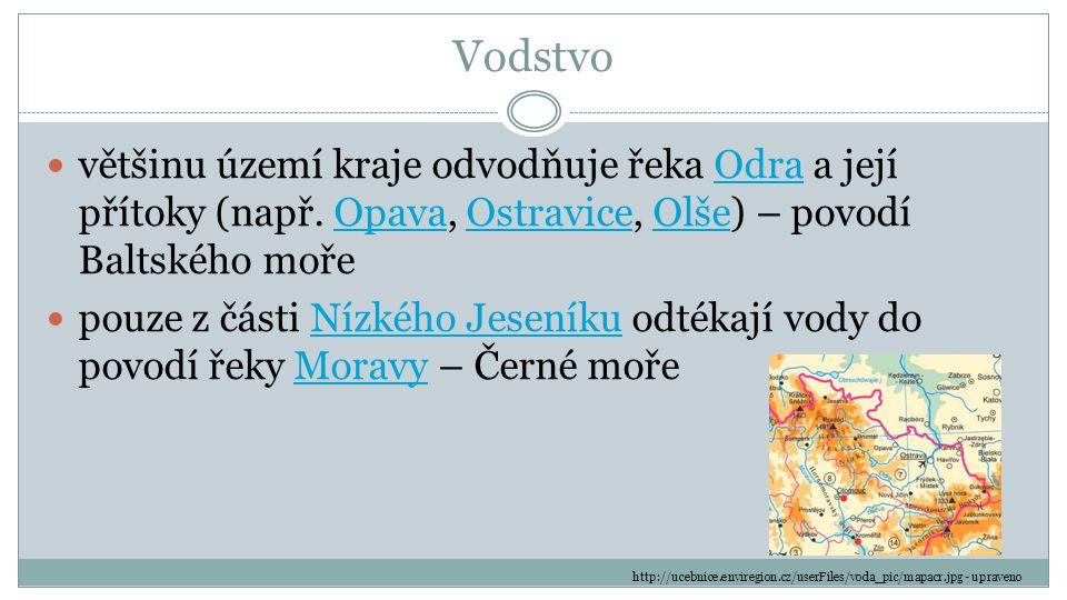 Vodstvo většinu území kraje odvodňuje řeka Odra a její přítoky (např. Opava, Ostravice, Olše) – povodí Baltského moře.