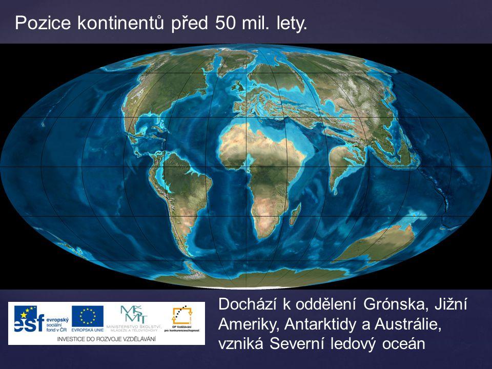 Pozice kontinentů před 50 mil. lety.