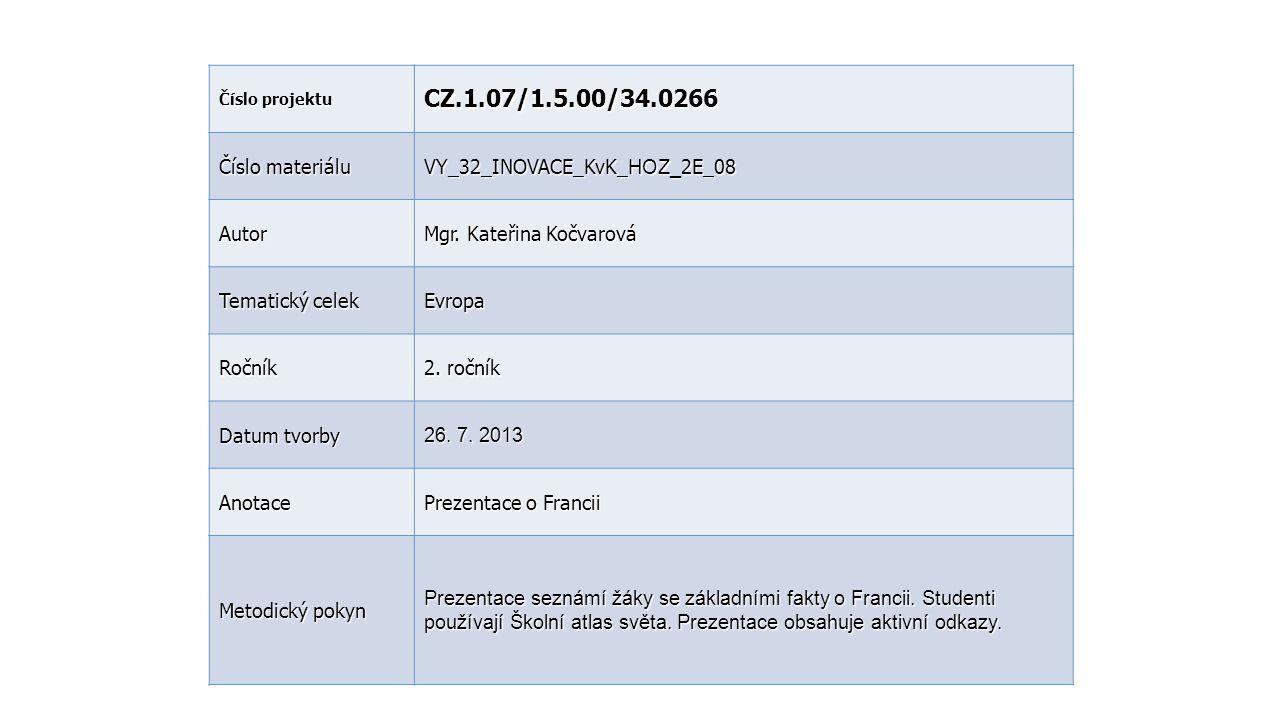 CZ.1.07/1.5.00/34.0266 Číslo materiálu VY_32_INOVACE_KvK_HOZ_2E_08