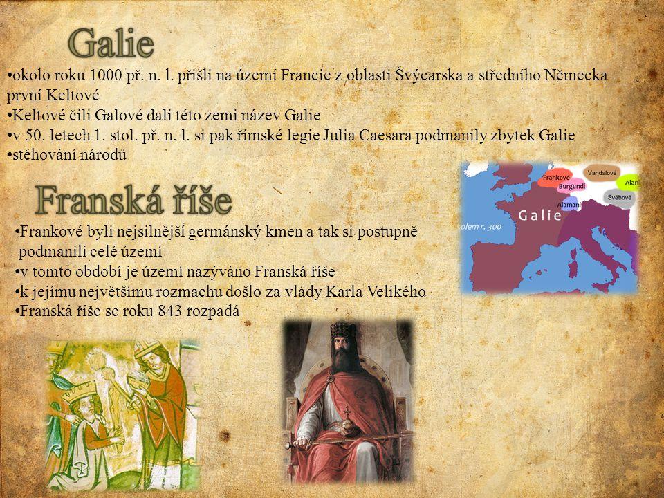 Galie okolo roku 1000 př. n. l. přišli na území Francie z oblasti Švýcarska a středního Německa první Keltové.