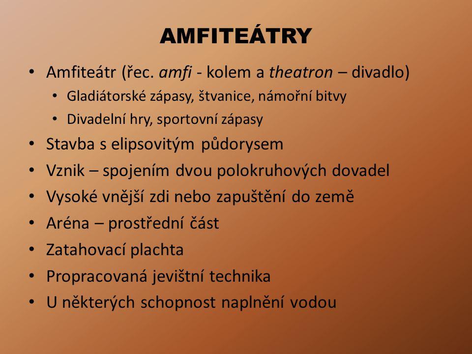 AMFITEÁTRY Amfiteátr (řec. amfi - kolem a theatron – divadlo)