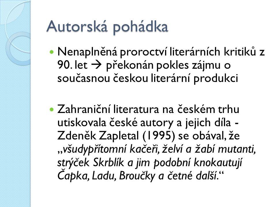 Autorská pohádka Nenaplněná proroctví literárních kritiků z 90. let  překonán pokles zájmu o současnou českou literární produkci.