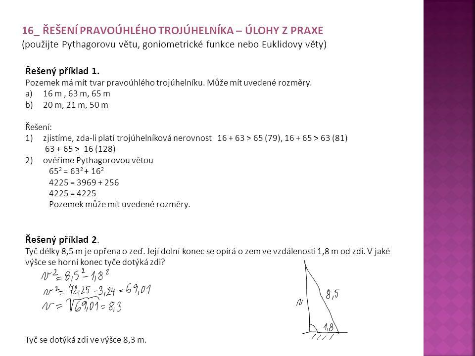 16_ Řešení pravoúhlého trojúhelníka – Úlohy z praxe