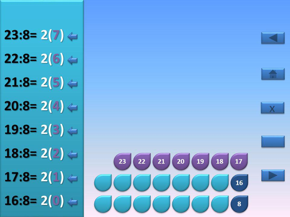 23:8= 2(7) 22:8= 2(6) 21:8= 2(5) 20:8= 2(4) 19:8= 2(3) 18:8= 2(2)