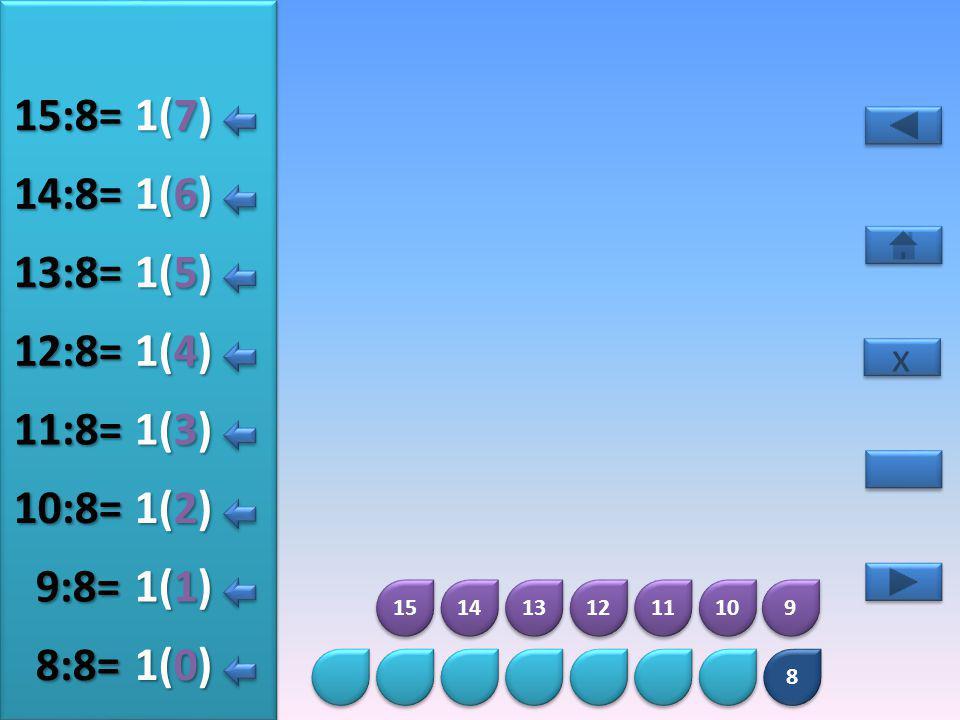 15:8= 1(7) 14:8= 1(6) 13:8= 1(5) 12:8= 1(4) 11:8= 1(3) 10:8= 1(2) 9:8=