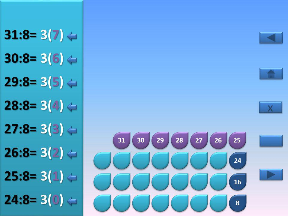31:8= 3(7) 30:8= 3(6) 29:8= 3(5) 28:8= 3(4) 27:8= 3(3) 26:8= 3(2)