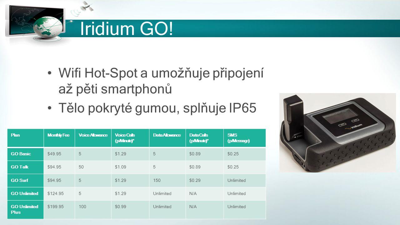 Iridium GO! Wifi Hot-Spot a umožňuje připojení až pěti smartphonů