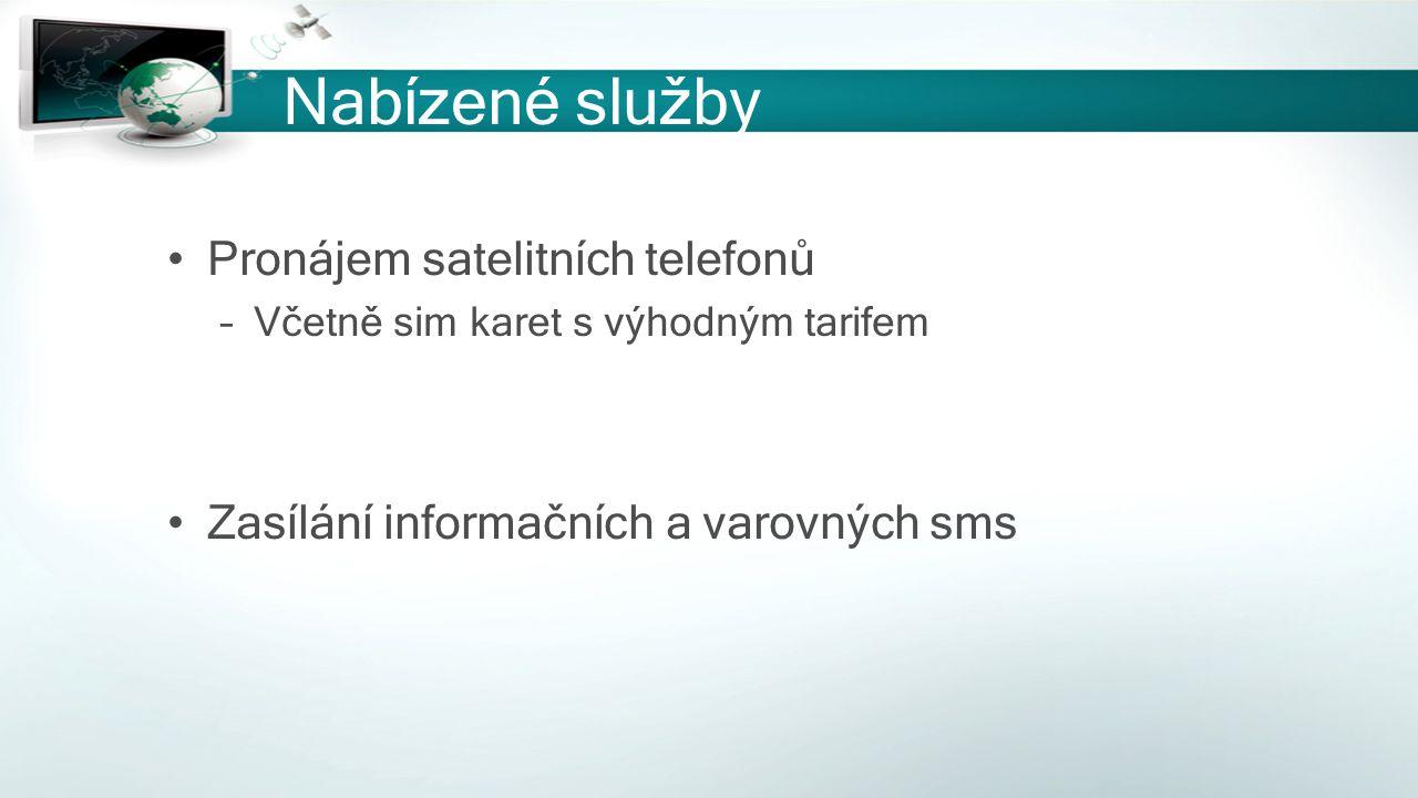 Nabízené služby Pronájem satelitních telefonů