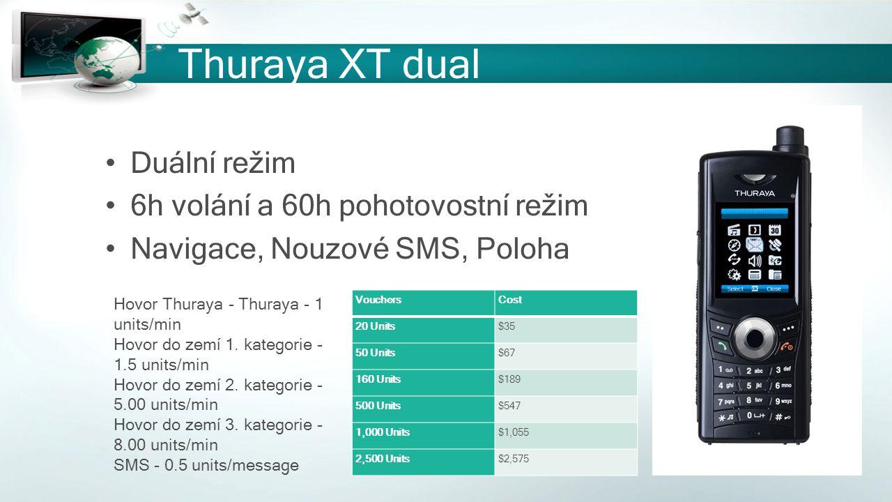Thuraya XT dual Duální režim 6h volání a 60h pohotovostní režim